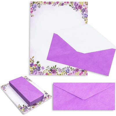 "48 Pack Purple Watercolor Floral Stationery Paper and Envelopes Set, 8.5"" x 11"""