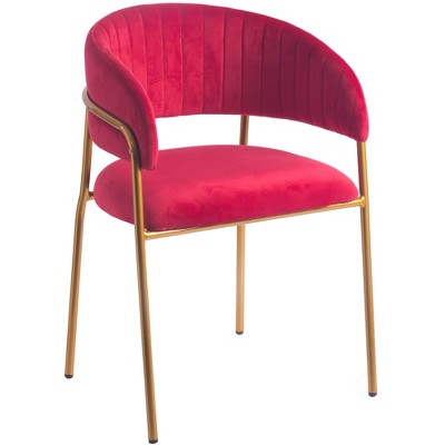 Bold Tones Modern Red Velvet Fabric Upholstered Accent Arm Chair with Gold Metal Legs
