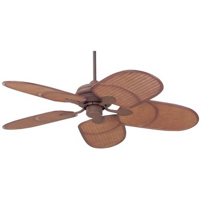 "42"" Casa Vieja Tropical Coastal Outdoor Ceiling Fan Rust Brown Rattan Blades Wet Rated for Patio Porch"