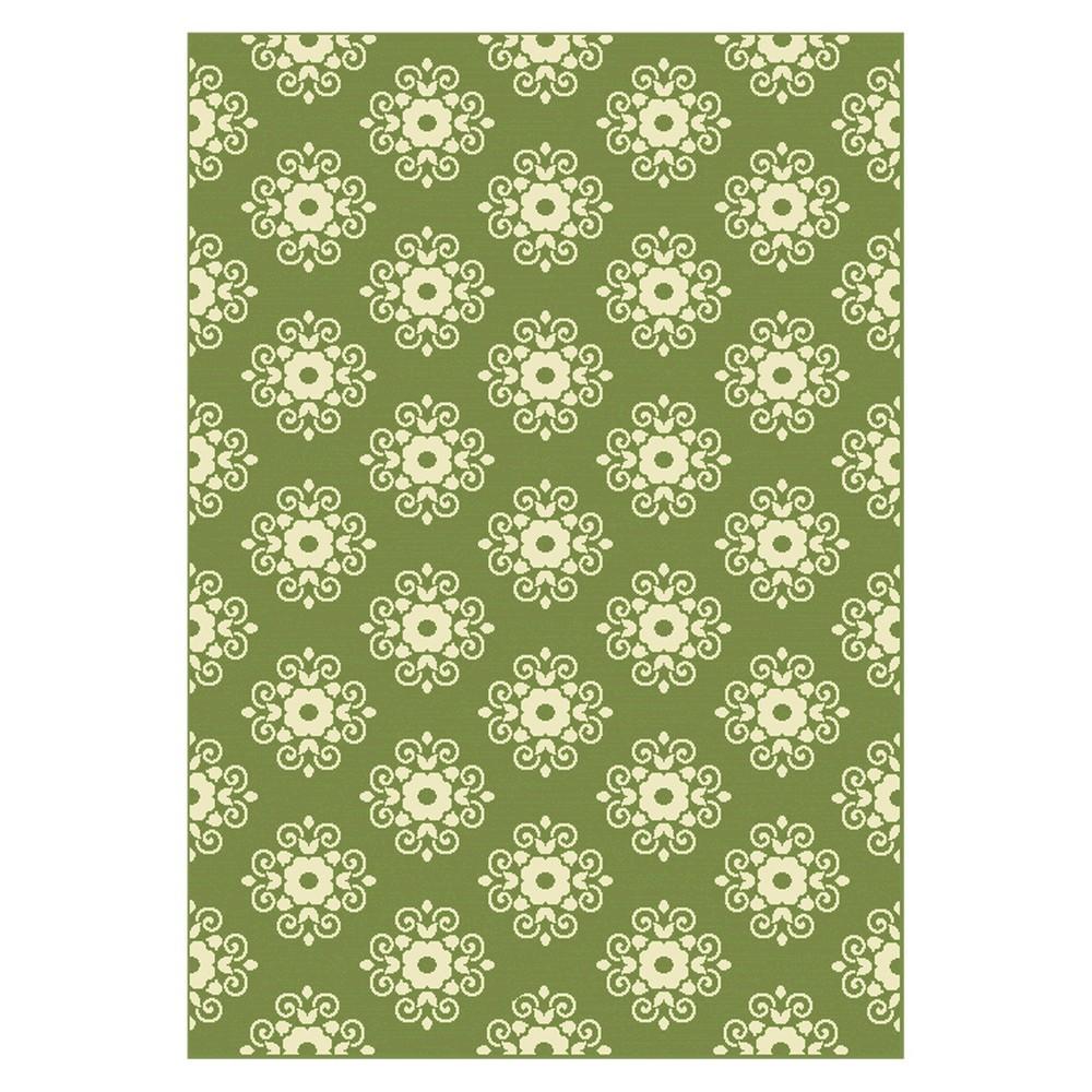 Garland Rectangle 7'10x10' Patio Rug - Green/Sand - Balta Rugs, White Green