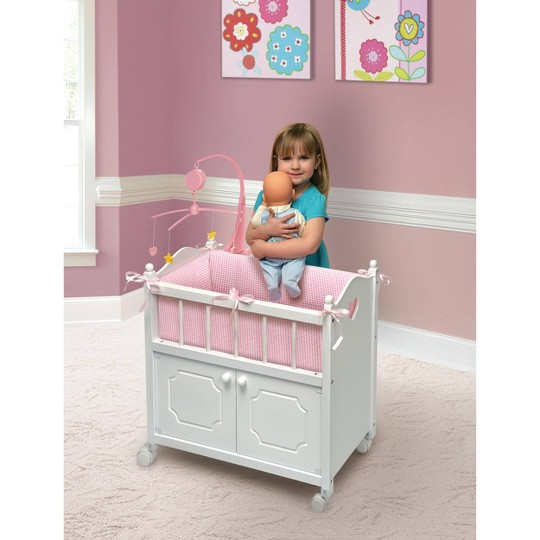 Badger Basket Cabinet Doll Crib with Gingham Bedding and Free Personalization Kit - White/Pink image number null