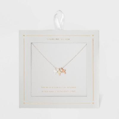 Sterling Silver Triple Cross Tri Tone Pendant Necklace - Silver