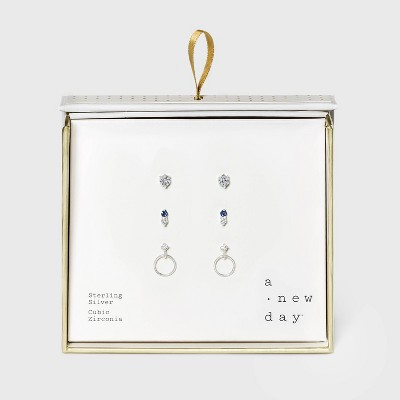 Sterling Silver with Cubic Zirconia Hoop and Studs Trio Earring Set - A New Day™ Silver