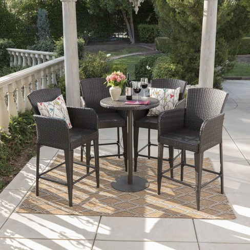 Callum 5pc Wicker Round Bar Table Set Multibrown - Christopher Knight Home - image 1 of 4