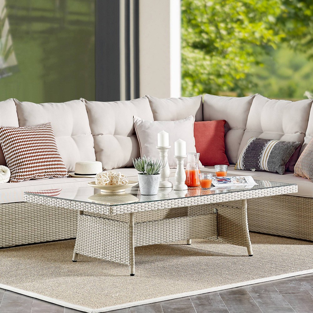 """Image of """"57"""""""" x 33"""""""" All-Weather Wicker Canaan Outdoor Coffee Table Brown - Alaterre Furniture"""""""