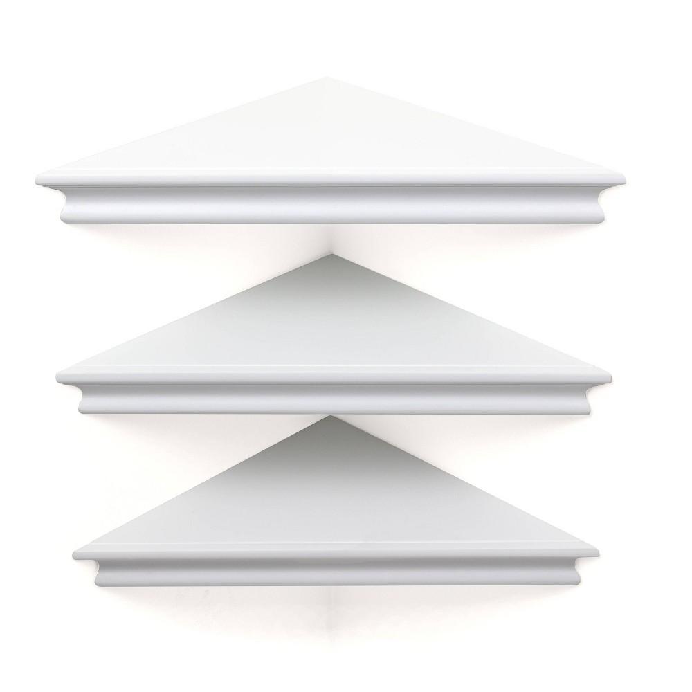 "Image of ""10.9"""" x 1.6"""" 3pk Providence Reilly Triangle Corner Shelf Set White - Kiera Grace"""