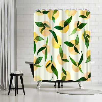 "Americanflat Wild Lemons by Modern Tropical 71"" x 74"" Shower Curtain"