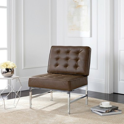 Lovely Ansel Modern Tufted Armless Chair   Leather   Safavieh®