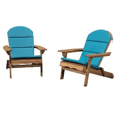 Malibu 2pk Acacia Adirondack Chairs - Natural/Teal - Christopher Knight Home