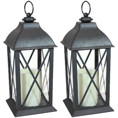 "2ct 10"" Lexington Plastic and Glass Battery Operated Indoor LED Candle Lantern - Black - Sunnydaze Decor"