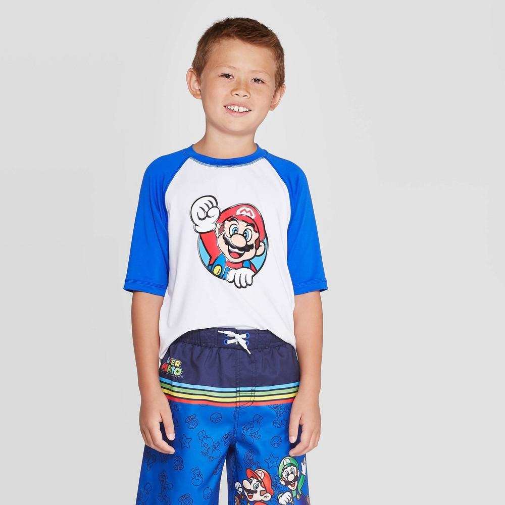 Image of Boys' Super Mario Print Rash Guard Swim Shirt - White/Blue XS, Boy's, Blue White