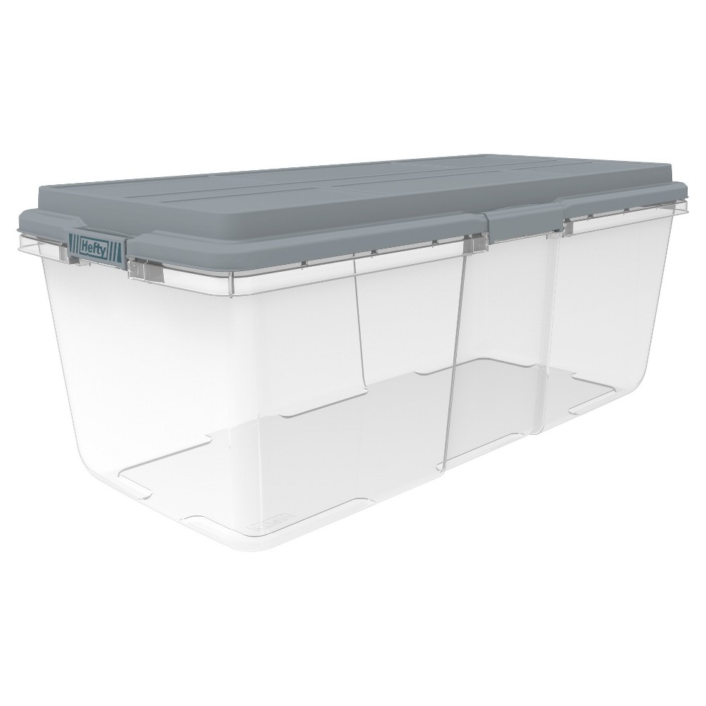 Hefty HI-RISE 113 Qt Clear Storage Container Hefty - The Toughest Name in Storage. The newely redesigned XXL clear plastic storage container by Hefty has a stackable, taller lid allowing you to store taller items and extra stuff. The XL lid locking handles allow of a tighter close, protecting your valuables in any space. The size and shape of this storage bin allows you to organize any space within the home. Perfect for storing bulky clothing, sports equipment, extra large Christmas storage, garage storage, basement storage - You name it! Stronger organizers built for tougher spaces. Pattern: Solid.