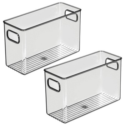 mDesign Plastic Storage Bin with Handles for Office, 2 Pack - Smoke Gray