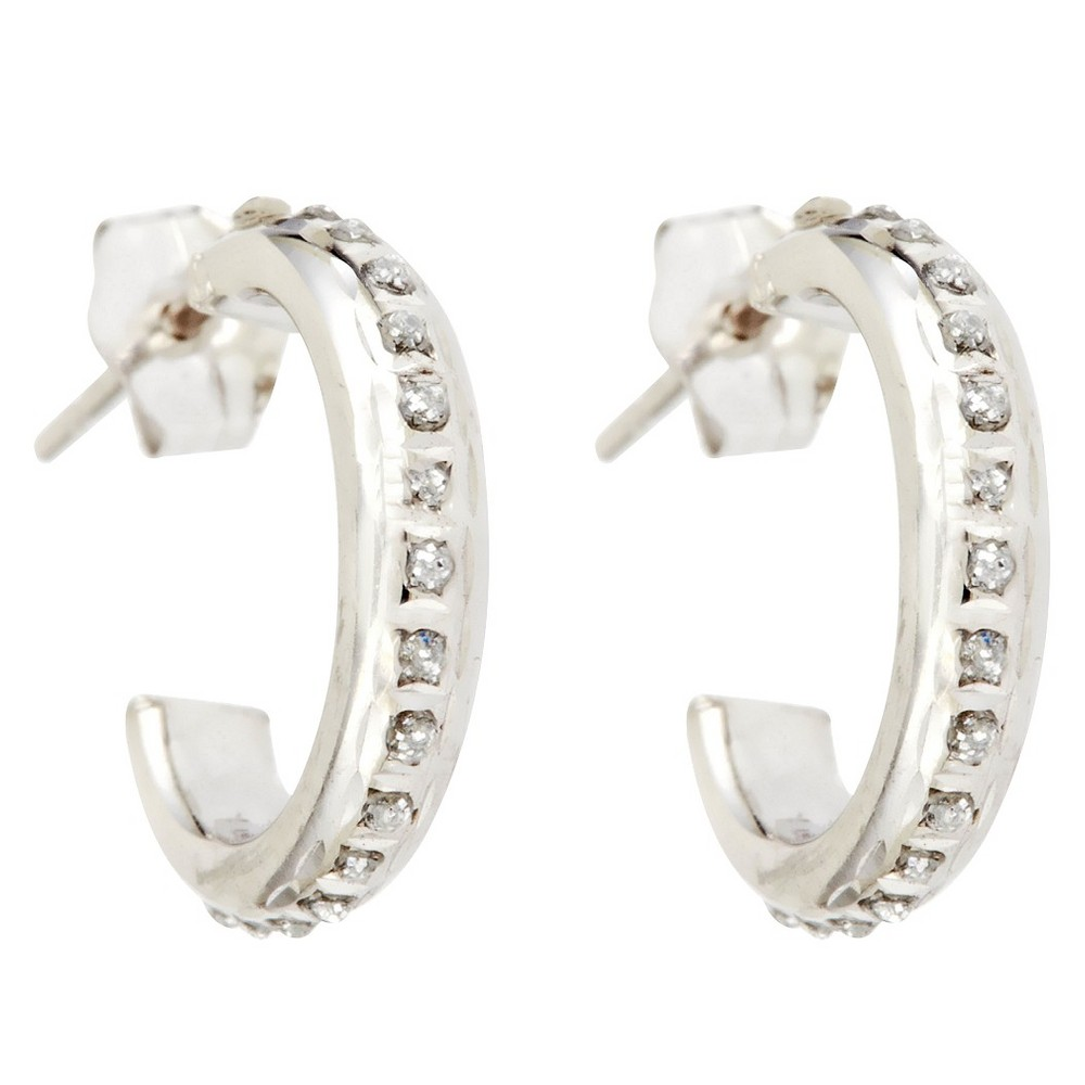 3/4 Post Hoop Sterling Silver Earrings with Diamond Accents - White