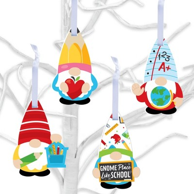 Big Dot of Happiness School Gnomes - Teacher and Classroom Decorations - Tree Ornaments - Set of 12
