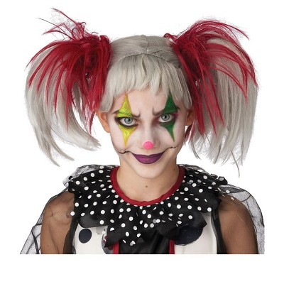 California Costumes Glow in the Dark Punk Pigtails Wig (Red/Grey)