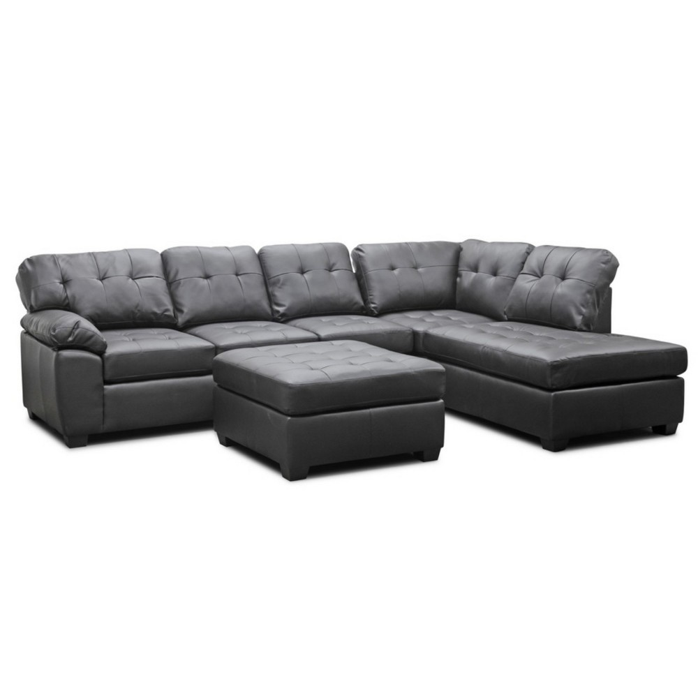Mario Leather Modern Sectional Sofa with Ottoman Brown - Baxton Studio