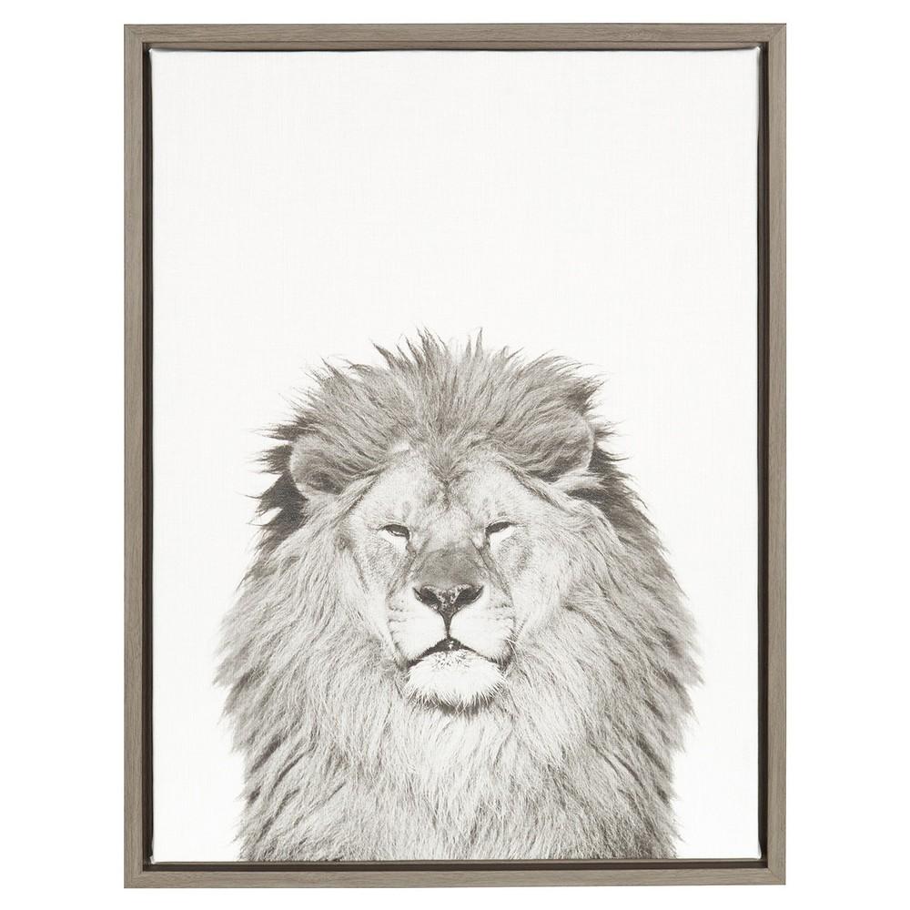 24 34 X 18 34 Lion Framed Canvas Art Gray Uniek