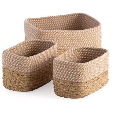 Assorted Set Of 3 Natural Nusa Organizer Baskets - Shiraleah