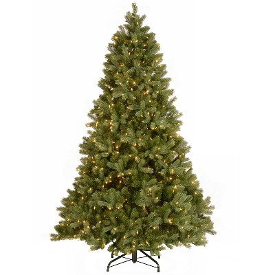 National Tree Company Feel Real 7.5' Artificial Prelit Downswept Douglas Fir Christmas Tree with 750 LED Dual Color Lights & Sturdy Metal Stand, Green