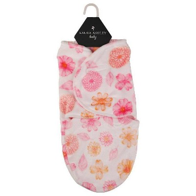 Laura Ashley Single Swaddle Leafy Floral Print Pink