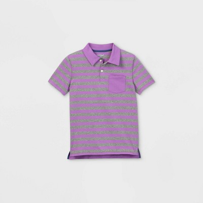 Boys' Short Sleeve Striped Knit Polo Shirt - Cat & Jack™