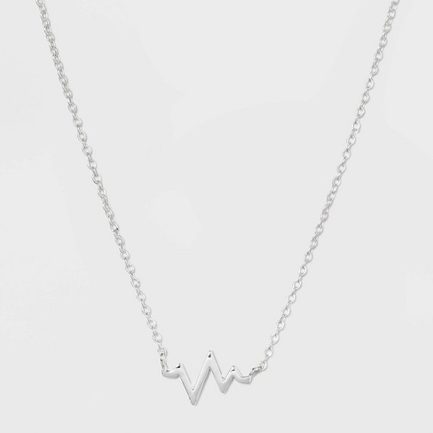 Sterling Silver Heart Beat Necklace - Silver - image 1 of 2