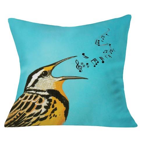 """Blue Coco De Paris Bird Singing Throw Pillow (20""""x20"""") - Deny Designs - image 1 of 3"""