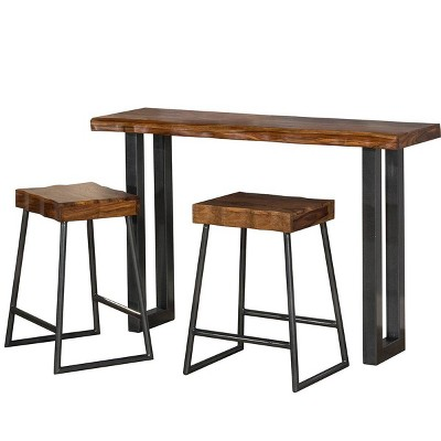 Set of 3 Emerson Sofa Table and Non Swivel Counter Stools Natural - Hillsdale Furniture