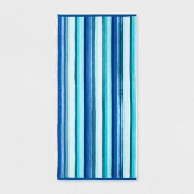 XL Textured Stripes Beach Towel Blue - Sun Squad™