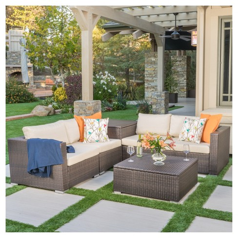 Cool Santa Rosa 6Pc All Weather Wicker Patio Sectional Sofa Set With Storage Brown Christopher Knight Home Pdpeps Interior Chair Design Pdpepsorg