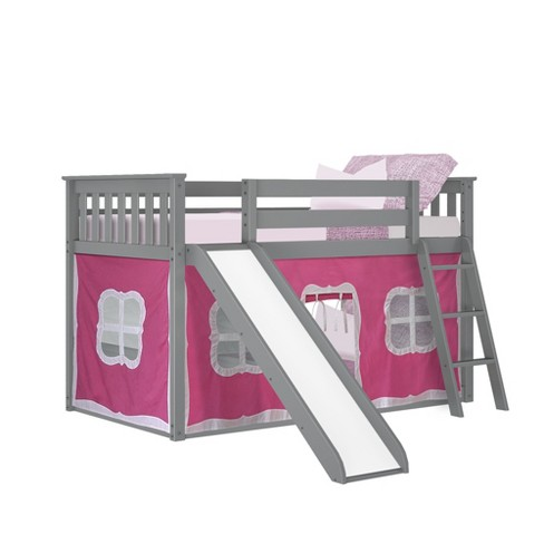 Max Lily Twin Over Low Bunk With Slide And Pink Curtains Grey Target