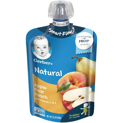 Gerber Toddler Apple Pear Peach Baby Food Pouch - 3.5oz