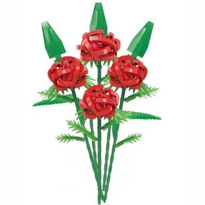 MPM 692PCS Valentines Day Simulation Red Rose Love Flower Bricks Model Gift Set, DIY Building Blocks Compatible with Lego