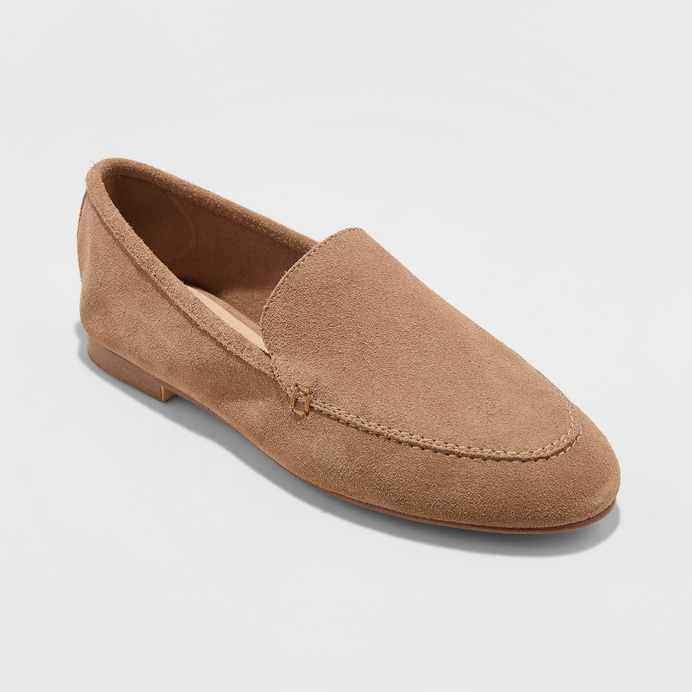 Women's Mila Wide Width Suede Loafers - A New Day Taupe (Brown) 5.5W, Size: 5.5Wide