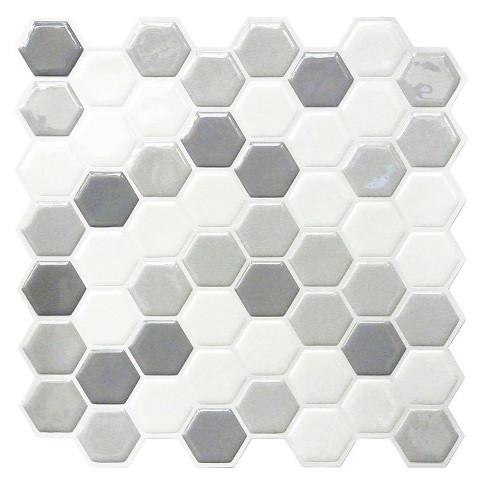 Roommates Gray Hexagon Tile Peel And Stick Backsplash Target