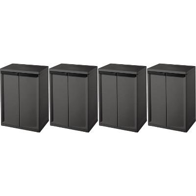 Sterilite 2 Shelf Heavy Duty Laundry, Sterilite Storage Cabinets With Doors And Shelves