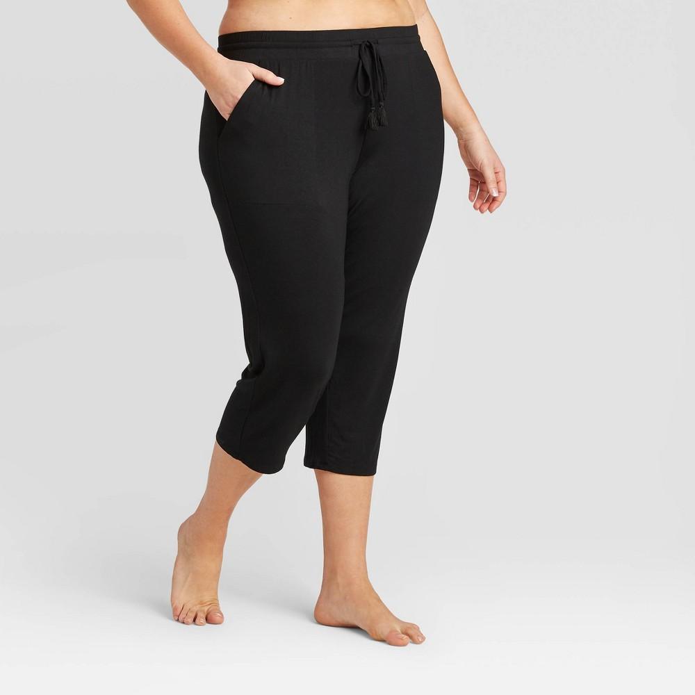 Women 39 S Plus Size Beautifully Soft Crop Pajama Pants Stars Above 8482 Black 2x