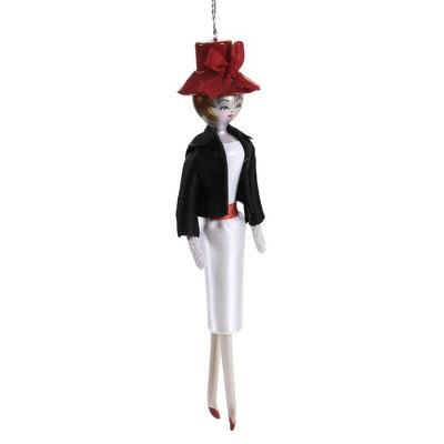 "Italian Ornaments 7.0"" Molly In Black Waisted Jacket Ornament Diva Shopper Lady  -  Tree Ornaments"