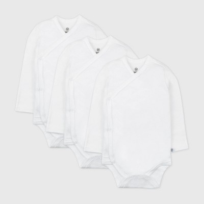 Honest Baby Baby 3pk Organic Cotton Long Sleeve Kimono Bodysuit - White Newborn