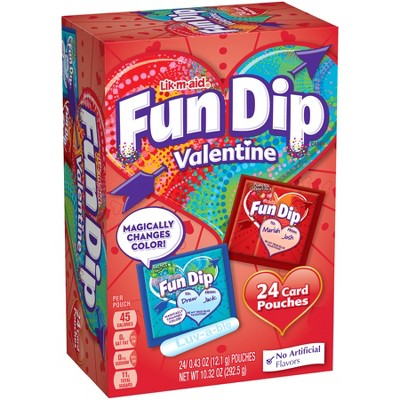 Lik-m-aid Fun Dip Valentine's Day Candy & Card Kit- 24ct/10.32oz