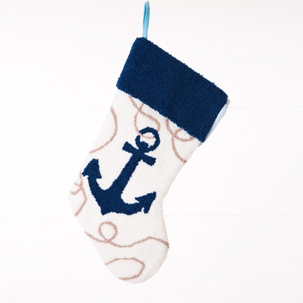 Image of Anchor Hooked Christmas Stocking - Glitzhome
