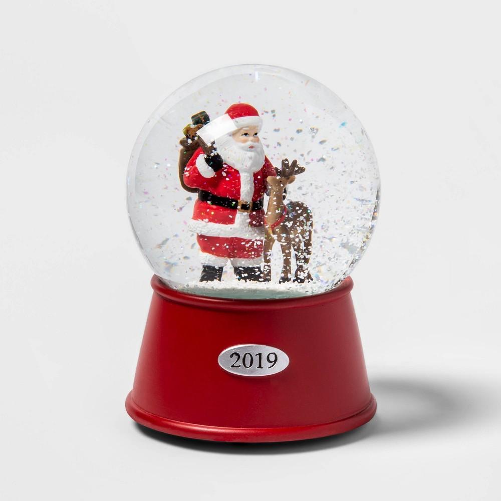 """Image of """"5.5"""""""" x 3.8"""""""" Santa Claus and Reindeer Musical Snow Globe - Wondershop"""""""