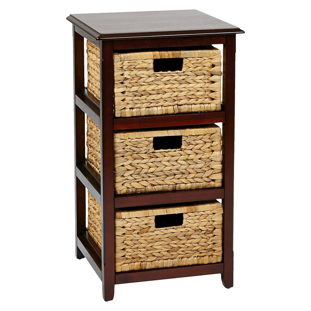 Seabrook Three-Tier Storage Unit With Espresso (Brown) Finish and Natural Baskets - Office Star