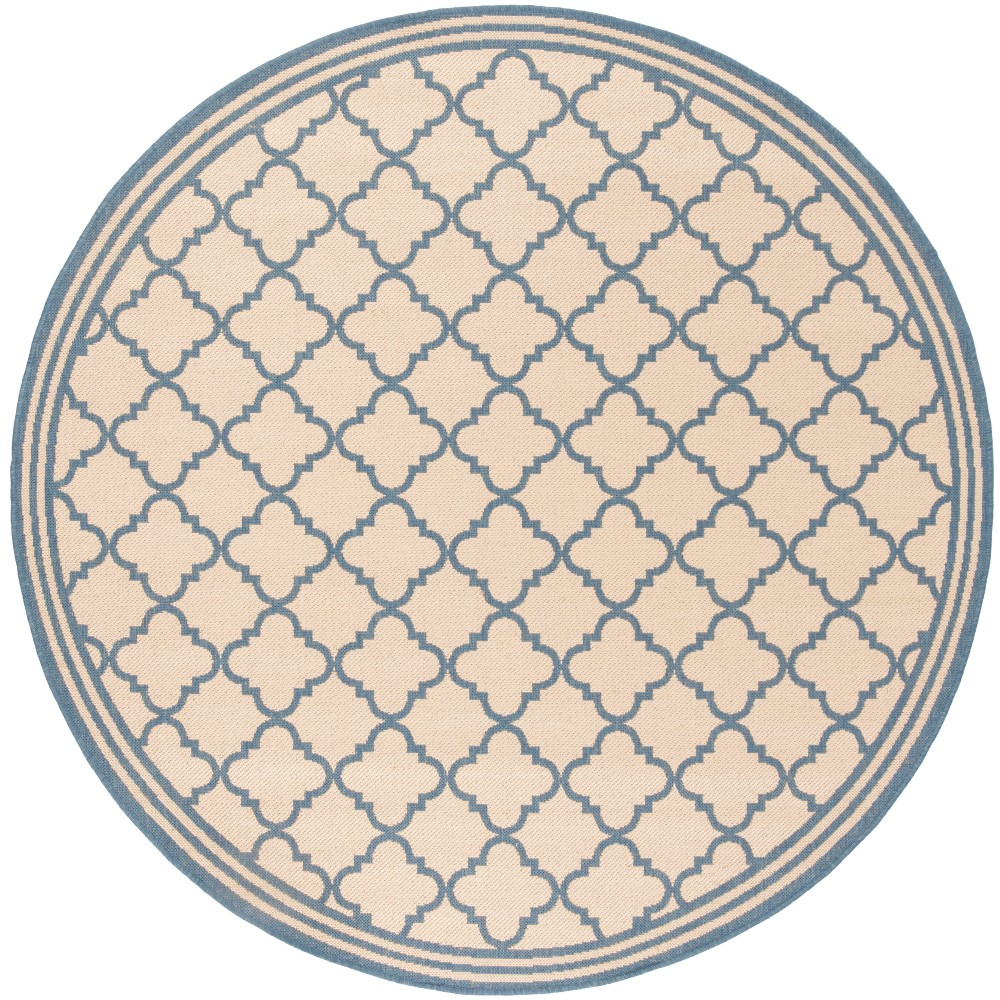 6 7 Quatrefoil Design Loomed Round Area Rug Cream Blue Safavieh