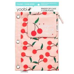 Binder Zip Pencil Case + Coin Purse - Pink Cherries - Yoobi™