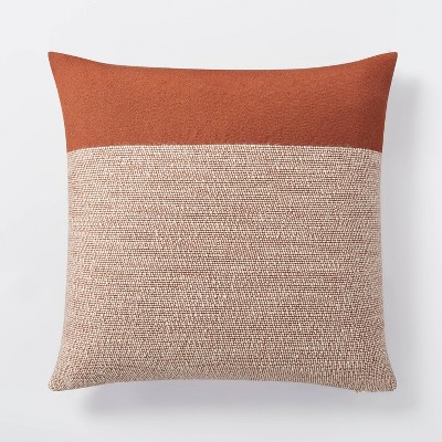 Oversized Color Block Square Throw Pillow Cream/Rust - Threshold™ designed with Studio McGee
