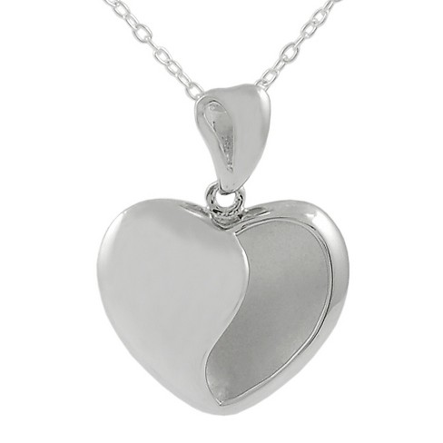 Journee Collection Heart Necklace in Sterling Silver - Silver - image 1 of 2