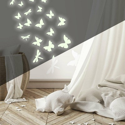 Butterflies and Dragonflies Glow in the Dark Wall Decal - RoomMates