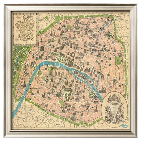 Art.com - Vintage Paris Map - Framed Print - image 1 of 2